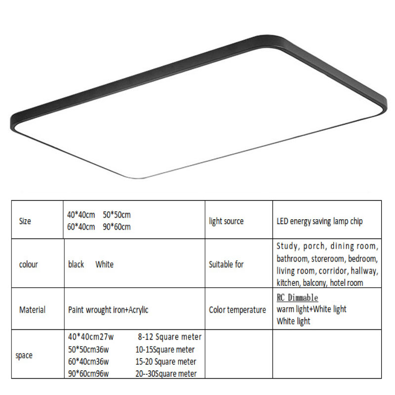 Image 2 - Modern minimalist LED ceiling light simple surface embedded remote control dimming ceiling lamp kitchen living room bedroom studCeiling Lights   -