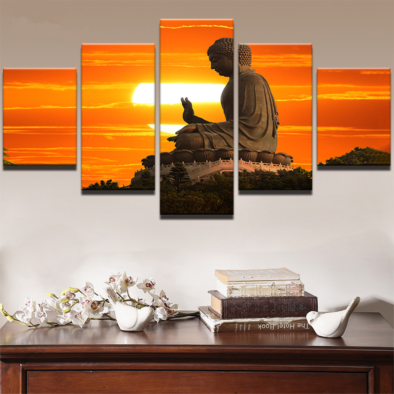 Canvas Posters Home Decor Framework HD Prints Pictures 5 Pieces Sunset Landscape Statue Of Buddha Poster Paintings Wall Art in Painting Calligraphy from Home Garden