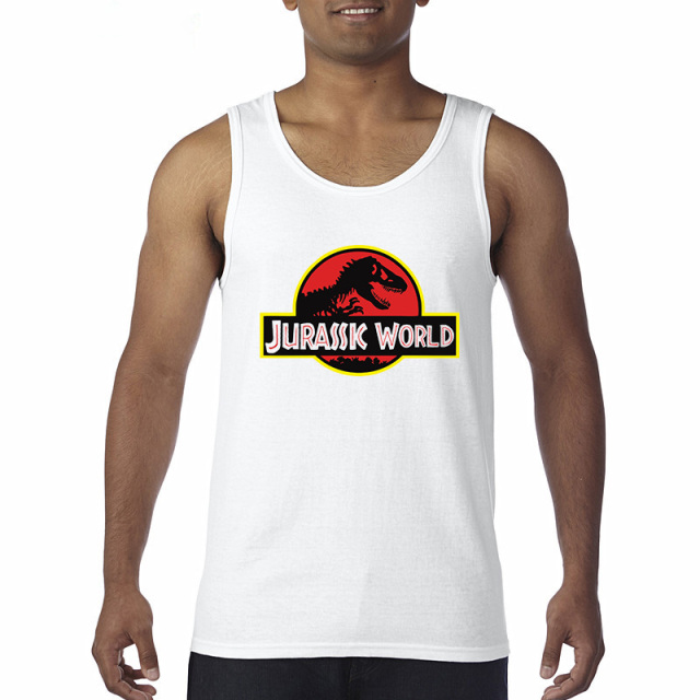 NEW cool JURASSIC PARK 3D Print Men vest  cozy 100% cotton Casual Funny tops vest Harajuku Tops Hipster White Hot Sale Shirts