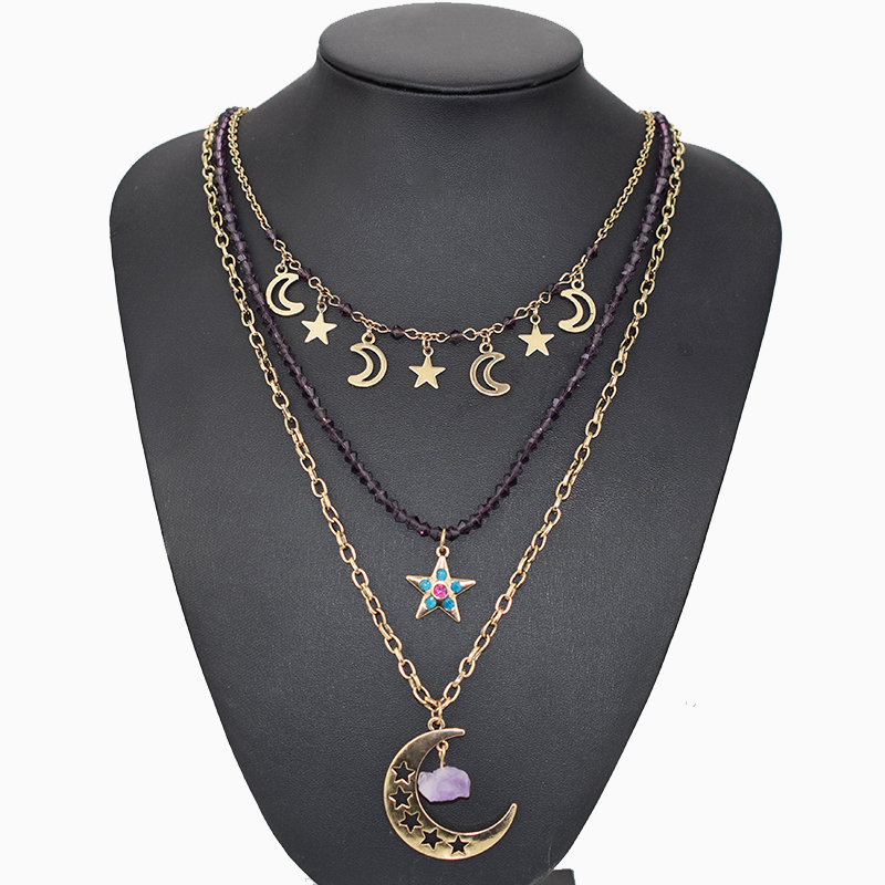 Hollow Moon Star Stone Pendant Necklace for Women Vintage Gold 3 Layered Crystal Beads Long Necklaces Christmas Jewelry Gifts