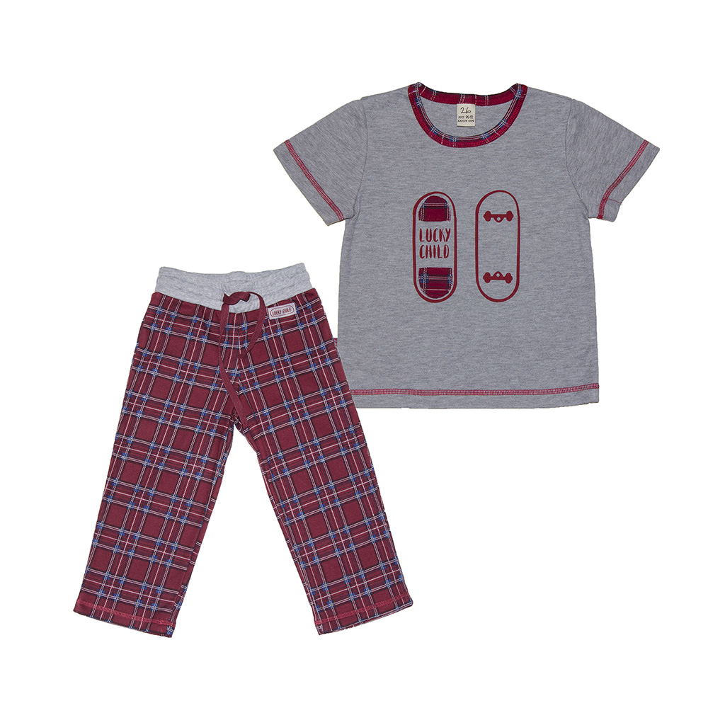 Pajama Sets Lucky Child for boys 13-402 (3T-8T) Children clothes kids clothes spring clothes new pattern girl korean trend fashion leisure time letter girl child cowboy 2 pieces kids clothing suits sets