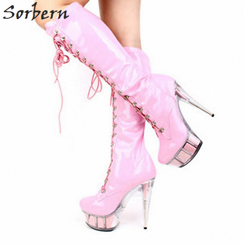 Sorbern Fashion Patent Leather Knee High Boots Custom Wide Calf Ladies Boots Lace Up Glitter Clear Platform Shoe Pole Dance Shoe sword art online 5 phantom bullet death gun cosplay shoe party boots high quality custom made