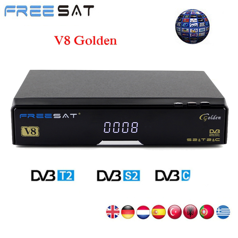 [Genuine] Freesat V8 Golden & USB Wifi DVB-S2+T2+C Satellite TV Combo Receiver Support PowerVu Biss Key Cccamd Newcamd USB Wifi freesat v8 golden support powervu biss key cccam iptv usb wifi dvb t2 dvb s2 dvb c satellite receiver dvb t2 s2 cable receptor