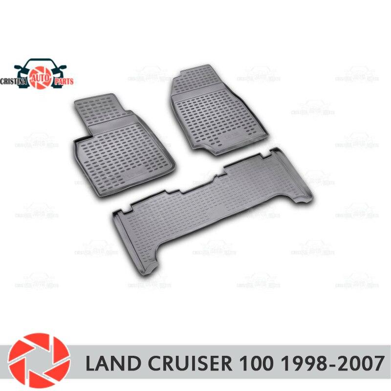 Para Toyota Land Cruiser 100 1998-2007 piso alfombras antideslizantes de poliuretano tierra protección interior estilo de coche accesorios