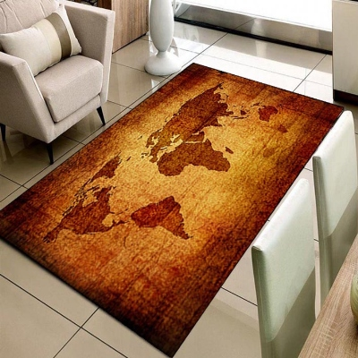 Else Brown Vintage World Earth Map 3d Print Non Slip Microfiber Living Room Decorative Modern Washable Area Rug Mat