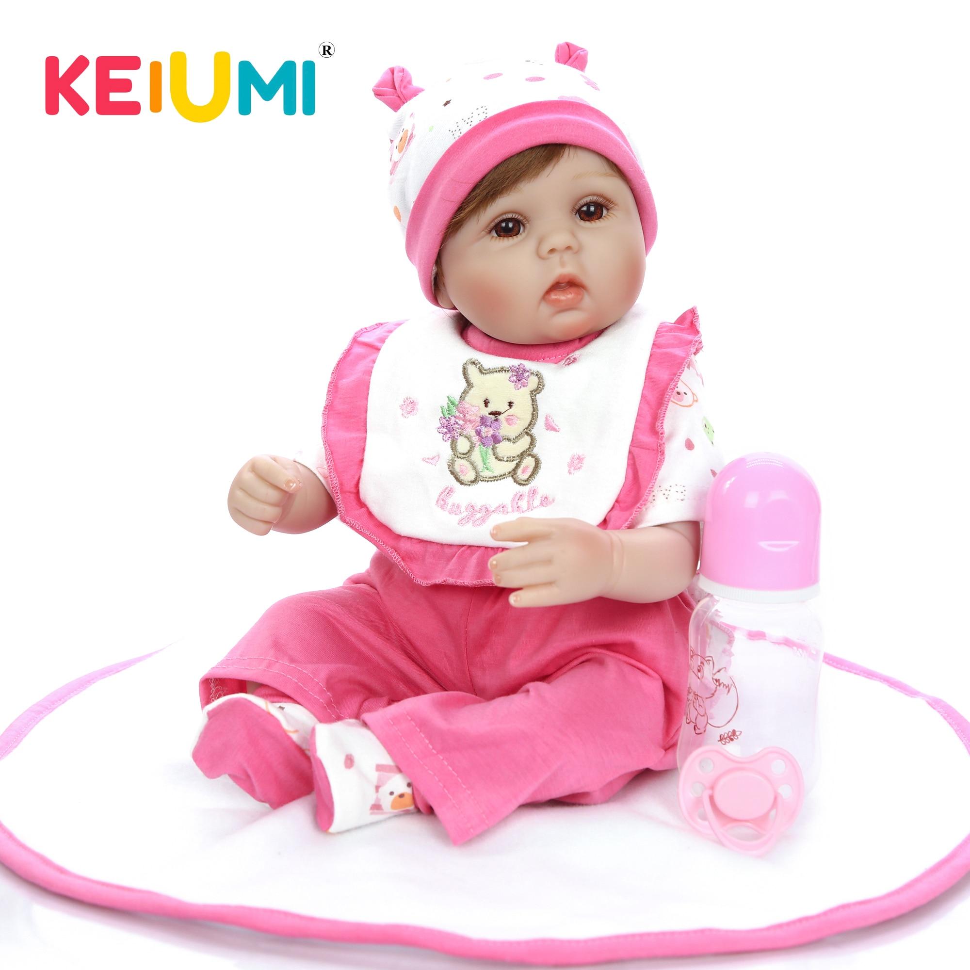 Keiumi atacado 17 reborn reborn reborn boneca menina silicone macio reborn boneca do bebê brinquedo para o dia das crianças da menina presente recheado boneca playmate