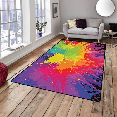 Else Red Green Orange Purple Watercolor Abstract 3d Non Slip Microfiber Living Room Decorative Modern Washable Area Rug Mat