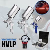 3 HVLP Spray Gun Set Airbrush Auto Paint Air Spray Kit Detail Basecoat Car Primer Clearcoat Case Stainless Steel