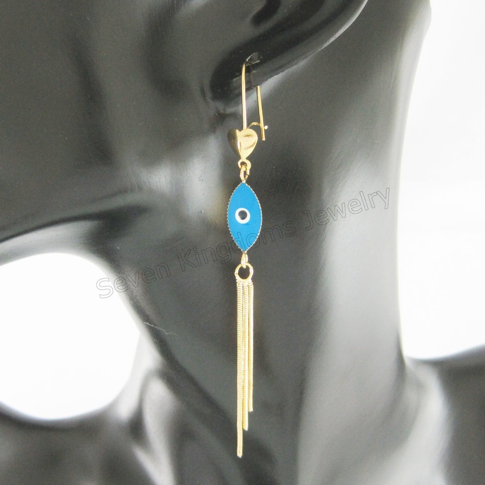 Min Order 10$ Can Mix Design/ New Stud Earrings Yellow Gold Gp Overlay Fill Brass Blue Enamel Oval Evil Eye Dangle 3.54 Earring Firm In Structure