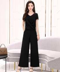 Новая летняя женская одежда имеет тонкий, стильный и сексуальный вырез с двух Костюм из нескольких предметов