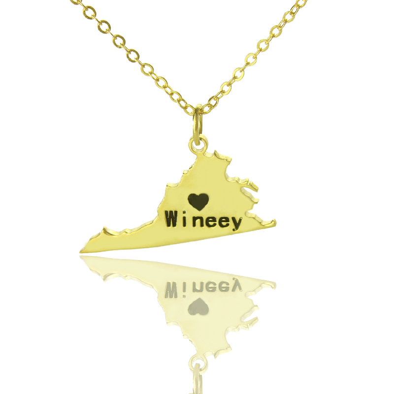 Custom Virginia State Necklaces Gold Color DIY America State Of Pendant Charm Necklace Map Necklace