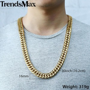Image 5 - Trendsmax Hip Hop Iced Out Paved Rhinestones Cuban Chain Mens Necklace Bracelet 316L Stainless Steel Gold Color 16mm KHSM04