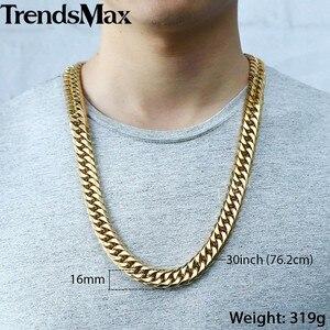 Image 5 - Trendsmax Hip Hop Iced Out betonowa cyrkonie kubański łańcuch męska naszyjnik bransoletka stal nierdzewna 316L złoty kolor 16mm KHSM04