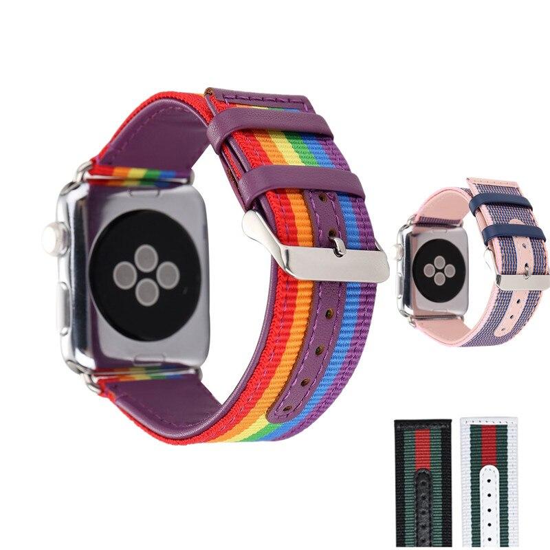 2bf951fa0ef ... Tiras para Apple Faixa de Relógio 42mm com Prata Ashei Série de 3  Relógio Couro Nylon 1 e 2 Bandas 38mm para Cinta Irelógio Adaptador ...