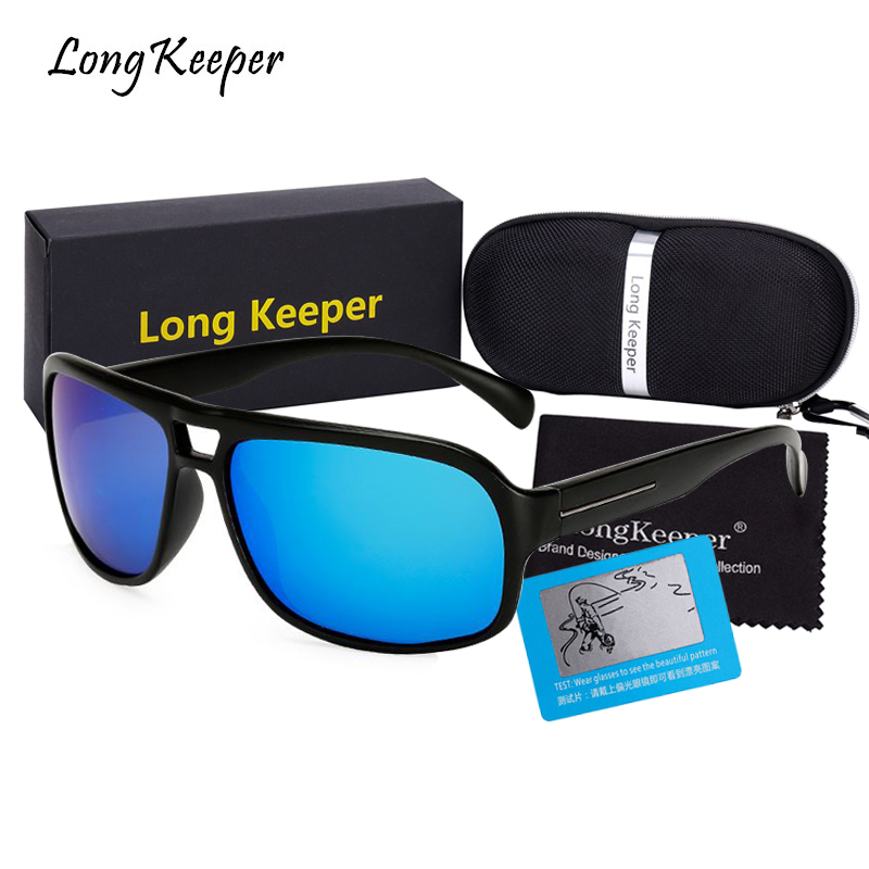 Long Keeper Polarized Square Shape Sunglasses For Men Driving Safety Anti-UV Goggles Male Double Glasses UV400 Eyewears With Box
