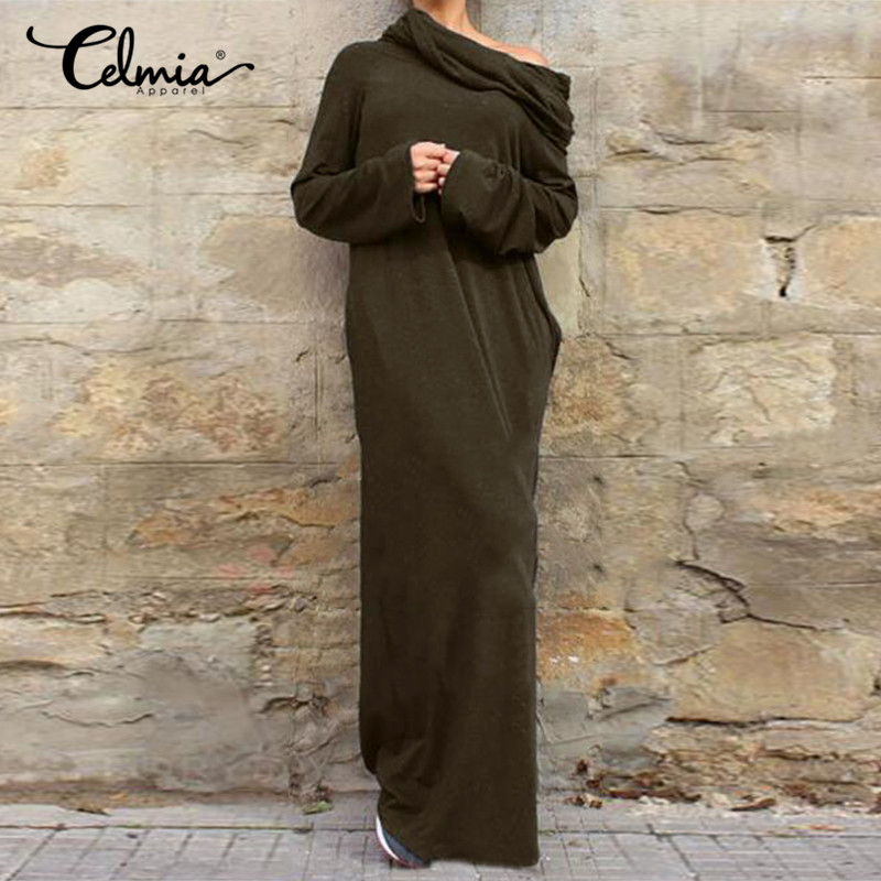 Celmia 2018 Elegant Autumn Winter Women Party Dresses Sexy Vintage Casual Long Sleeve Hooded Long Maxi Dress Plus Size Hoodies