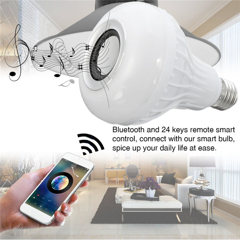 Smuxi E27 LED RGB Wireless Bluetooth Speaker Music Smart Light Bulb 15W Playing Lamp + Remote Control Decor for iOS Android icoco e27 smart bluetooth led light multicolor dimmer bulb lamp for ios for android system remote control anti interference hot