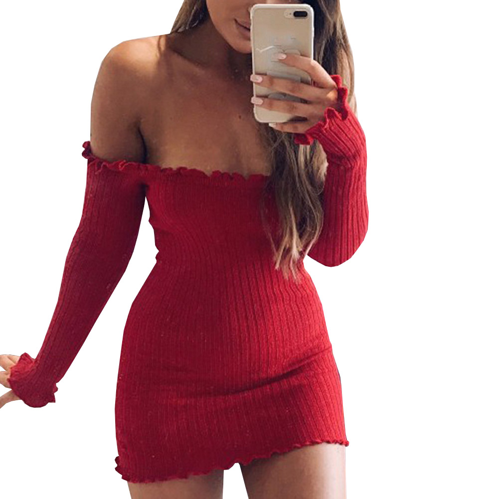 Sexy Off Shoulder Club Dress Slim Bodycon Long Sleeved Dress Autumn Winter Knitted Elastic Sweater Party