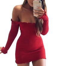 Пикантные с открытыми плечами клуб платье Тонкий облегающее платье с длинными рукавами осень-зима трикотажные упругой свитер Платья для вечеринок Тонкий vestidos