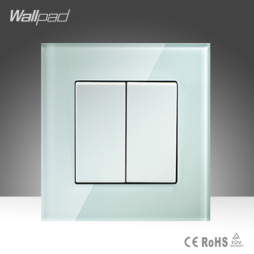 Amazing Discount 2 Gang 1 Way Wallpad Crystal Glass UK EU Standard Push Button Light Wall Switch ewelink eu uk standard 1 gang 1 way touch switch rf433 wall switch wireless remote control light switch for smart home backlight