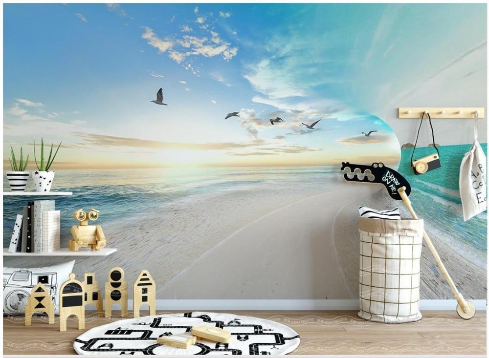 US $11 72 42% OFF|Custom 3d photo Wallpaper murals Mediterranean mural  Simple small fresh 3D sea sky landscape background wall paper living  room-in