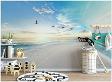 Custom 3d photo Wallpaper murals Mediterranean mural Simple small fresh 3D sea sky landscape background wall paper living room