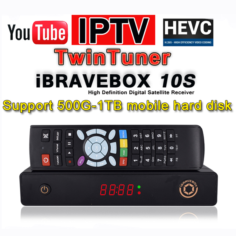 iBRAVEBOX F10S H.265 TwinTuner DVB-S2 satellite receiver Support IPTV XtreamIPTV CCcam PowerVU AVS+ BissKEY IPTV SERVER freesat v7 hd powervu satellite tv receiver dvb s2 with 3months free africa cccam account stable on starsat 5e