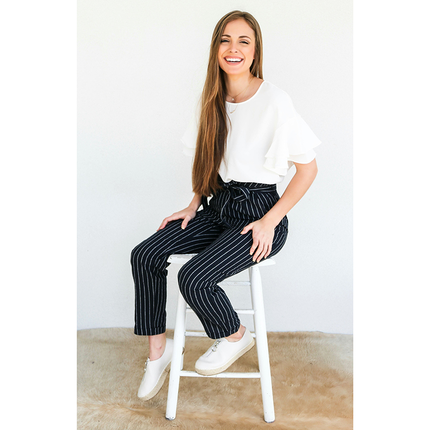 New Ladies Mid Waist Flat Pencil Pants Blue & White & Grey Striped - Ropa de mujer