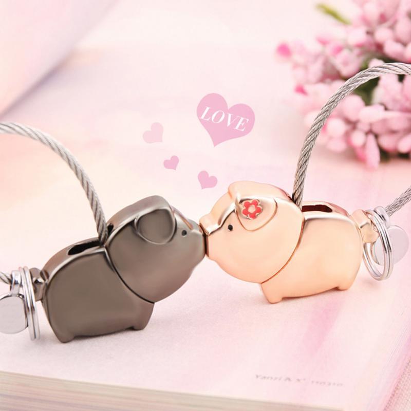 Love Me Kiss Pig Key Chain Key Ring For Women Pendant Couple Lovers Trinket Keychain Llaveros Para Pareja Mujer