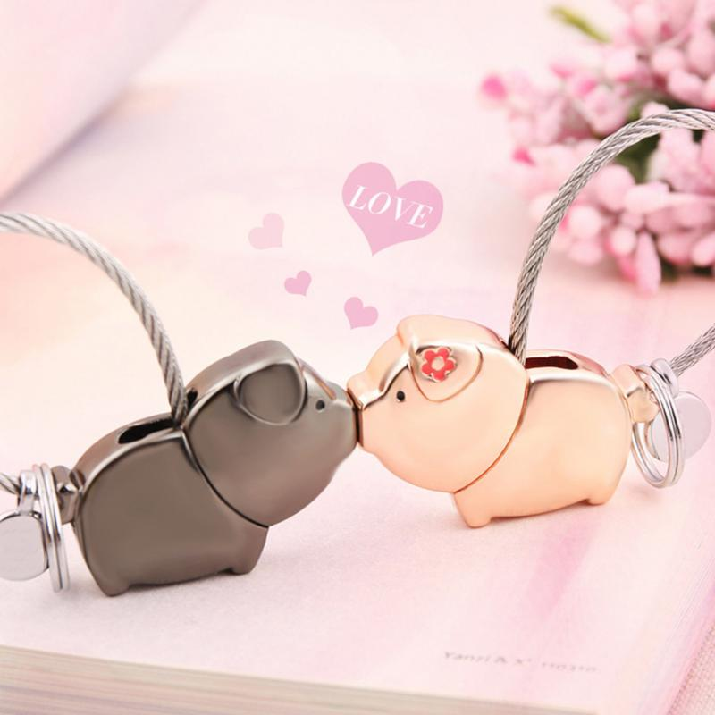 Love Me Kiss Pig Key chain Key Ring for Women Pendant Couple Lovers Trinket Keychain llaveros para pareja mujer