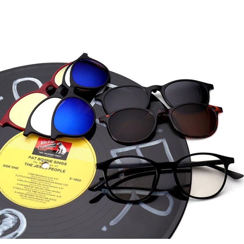 Fishion Magnet Sunglasses Clip on Eyeglasses Five Sunglasses Lens Polarized Brand Designer Round Sun glasses