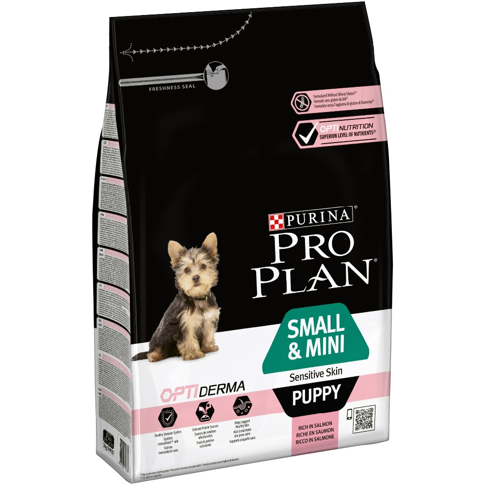 Dry food Pro Plan for puppies of small and mini breeds with sensitive skin with OPTIDERMA complex with salmon and rice, 12 kg. 12 inch pu leather small suitcase floral decorative box with straps for women