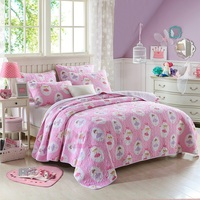 Princess Pink Quilt Set 2pcs/3pcs Aircondition Bedspread Cotton Quilts Printed Coverlet Twin Queen Size Girls Bedding Bed Cover