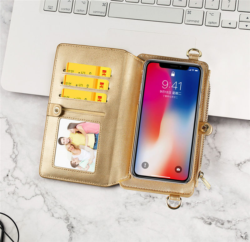 4 in 1 Leather Wallet Bag Case for iPhone X 6 6s 7 8 Plus Detachable Phone Cover Card Slot Girl Women Shoulder Bag Handbag Pouch (13)