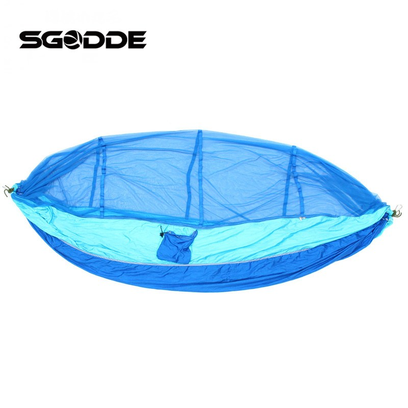 SGODDE New Portable Travel Camping Jungle Outdoor Hammock Hanging Bed + Mosquito Net Very Convenient sgodde portable outdoor travel camping tent folding nylon hammock bed mosquito net nylon 210t fabric for travel kits camping page 3