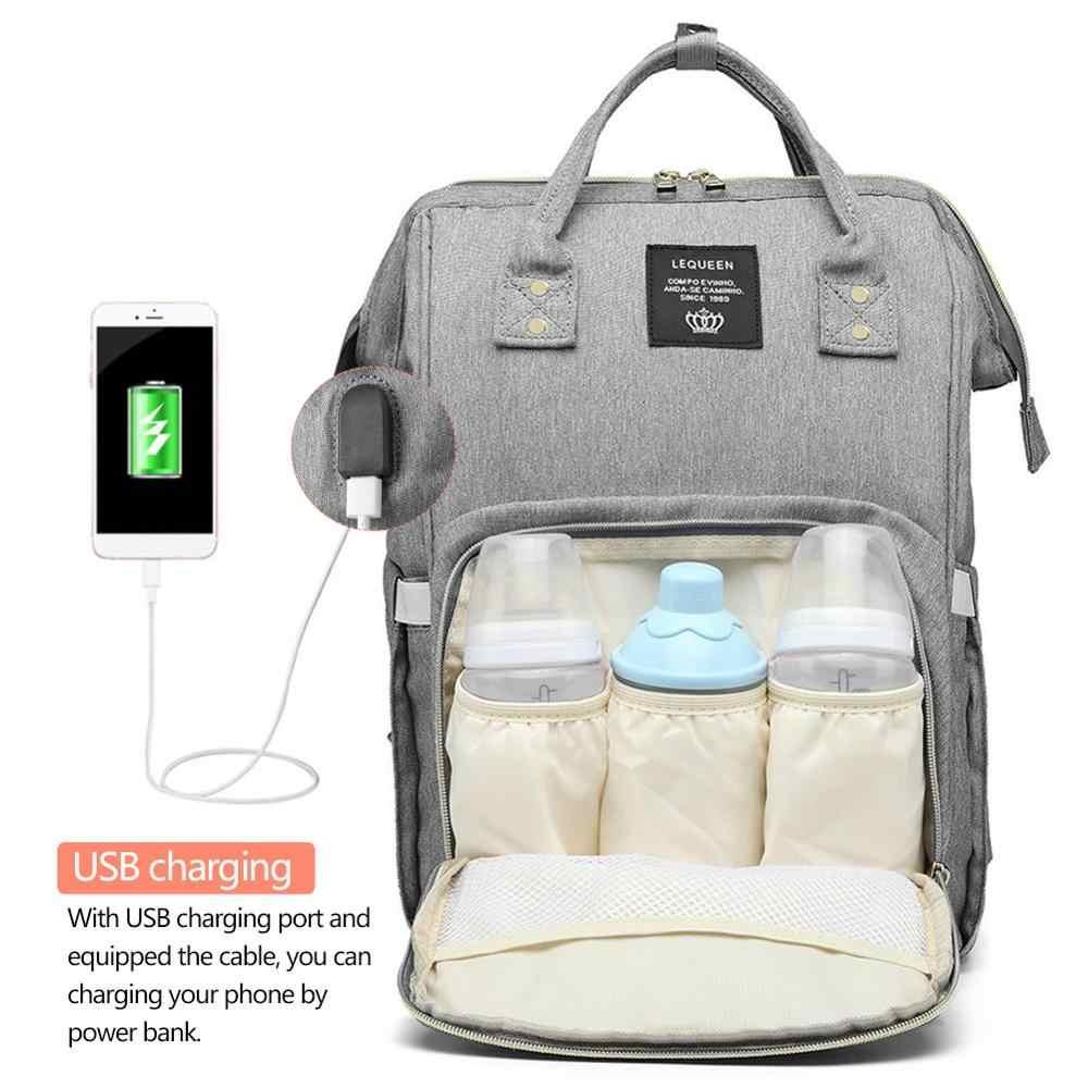 Maternity กระเป๋าผ้าอ้อมกันน้ำ USB ชาร์จขนาดใหญ่แม่พยาบาลกระเป๋าเป้สะพายหลัง