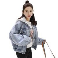 Denim Jackets women's summer jacket 2018 Vintage Long Sleeve Slim Hoody female jacket Denim Coat Female Fake Two Piece Jacket