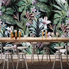 Hand-painted European pastoral style tropical rainforest Southeast Asia mural wall professional production wallpaper custom pers