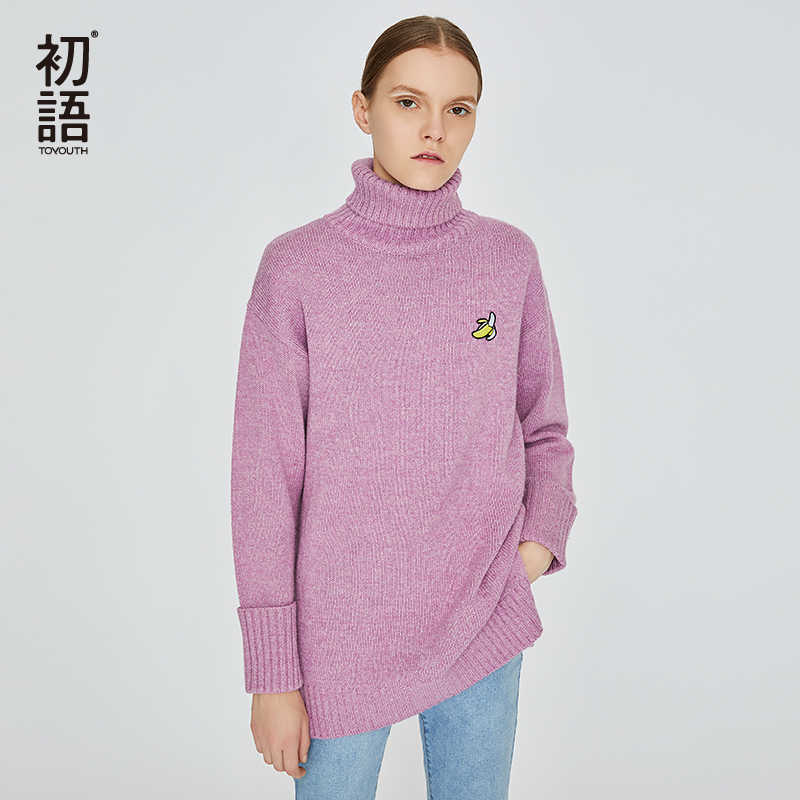 Toyouth Otoño Invierno moda tortuga Navidad puente suéter manga larga Casual bordado patrón femenino