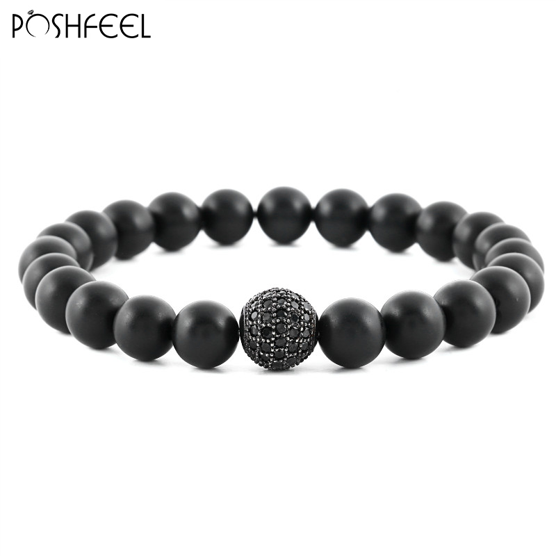 Poshfeel Fashion 8mm Natural Black Mate Beads Bracelet For Women and Mens Jewelry Pulseras Masculina MBR170071