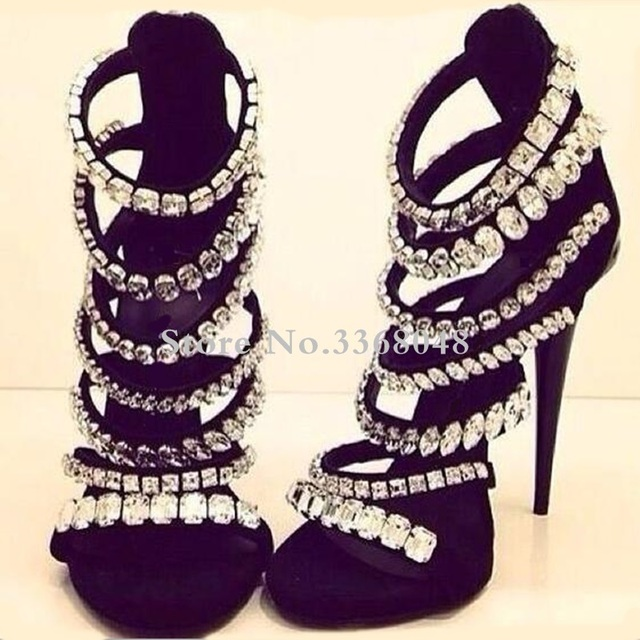 Rhinestone Gladiator Sandals Sexy Strappie Crystal Beading Women Shoes 2019 Hollow Out Cover Heels Woman Night Club Dress Shoes