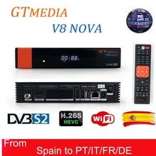 GT Media V8 Nova RCA DVB-S2 Satellite Receiver H.265 built-in WIFI +1 Year Europe Spain CCcam TV Box New Version of V8 Super
