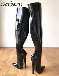 Image 5 - Sorbern 65cm קשיח פיר מותאם אישית עגל אמצע ירך 18cm פגיון אתחול שחור פטנט נשים נעליים גבוהה עקבים חדש רך פנימי מגפיים