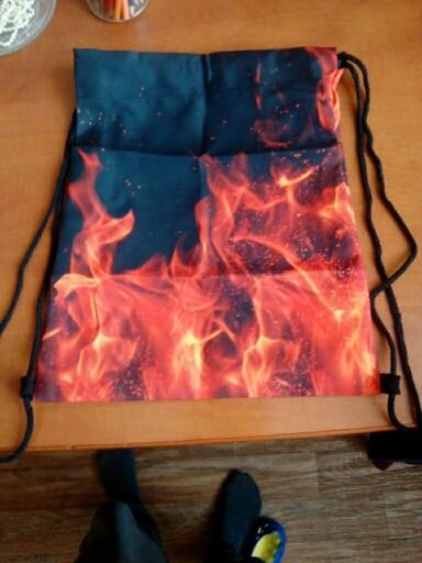 Top sale women men Drawstring bags Unisex Flame 3D Printing Drawstring canvas bag sac a dos Bolsas photo review