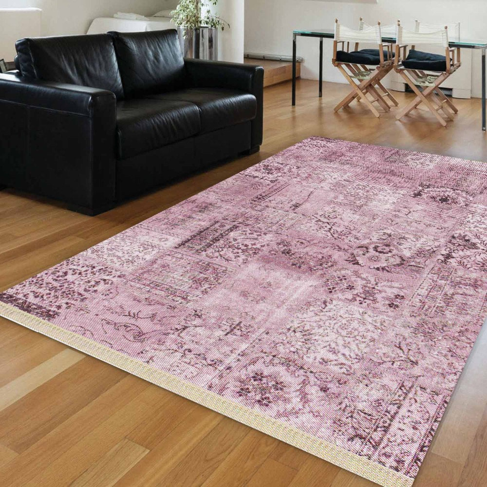 Else Purple Authentic Turkish Ethnic Vintage Ottoman 3d Print Anti Slip Kilim Washable Decorative Area Rug Bohemian Carpet
