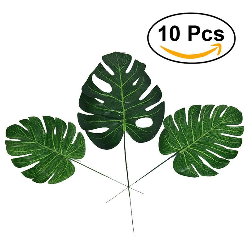 Image 2 - 10pcs Artificial Plants Monstera Palm Tropical Plant Green Leaves Home DIY Decoration Wedding Party Office Store Decorations-in Artificial & Dried Flowers from Home & Garden