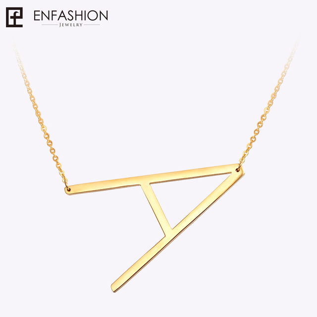 EnFashion Letter Necklaces Alphabet Initial Pendants Necklace Gold Color Stainle