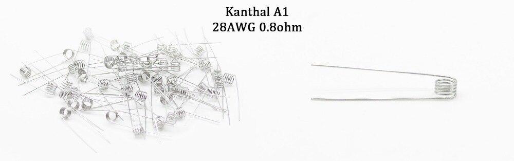 DOTENT 50 stücke Kanthal A1 Perbuilt Spulen 0,4/0,5/0,6/0,8/1,5/1.8 ...