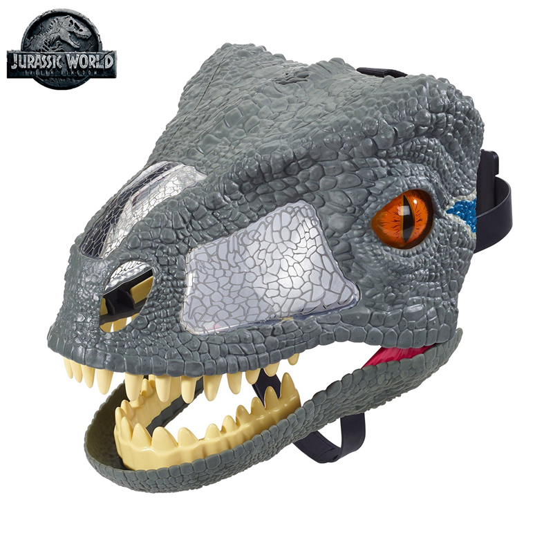 Original Mattel Jurassic World 2 Dinosaur Sounds Effect Mask One Piece Cosplay Props Halloween Costumes Toys for kids Adults цена