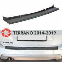 Cubierta de la placa parachoques trasero para Nissan Terrano 2014-2019 Placa de protección de diseño del coche accesorios de decoración moldeado